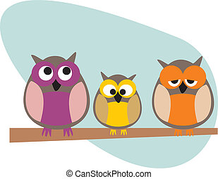 Owl family vector illustration - Funny, staring owls family...