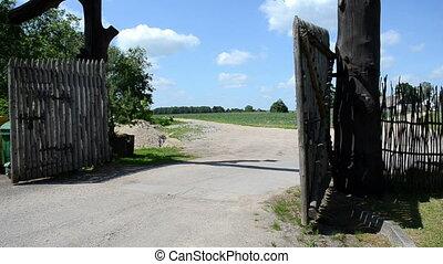 wooden park gate wind
