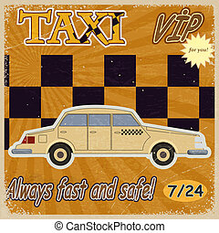 Vintage card with the image of the old taxis. eps10