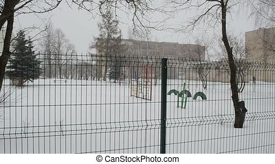 kindergarten winter snow - playground and other kindergarten...