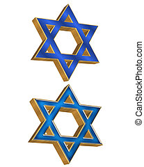 Jewish Star 2 styles 3D - 3 Dimensional illustration of...