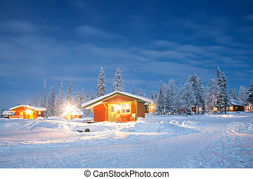 Winter landscape at night - Winter landscape with cabin hut...