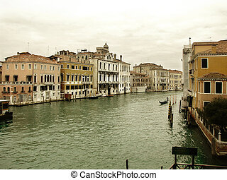 Gondola floating in Grand Canal - view at floating gondola...