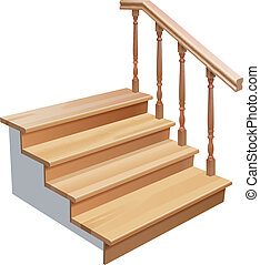 wooden stairs - vector wooden stairs cross section on white...