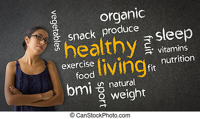 Healthy Living - Woman standing next to a Healthy Living...