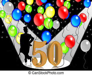 Birthday invitation 50 years - 50th Birthday Party Balloons...