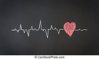 Heartbeat Diagram - Chalk Illustration of a Heartbeat...