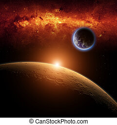 Mars, Earth - Abstract scientific background - planets Earth...