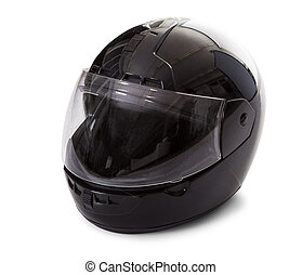Black motorcycle helmet - Studio image of a black motorcycle...