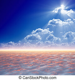 Bright light from above - Peaceful background - blue sky,...