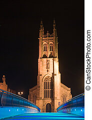 St. Mary\\\'s church photographed by night. The lightning...