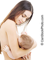 breastfeeding - picture of happy mother breastfeeding baby...