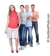 cuatro, empresa / negocio, socios, casual, ropa