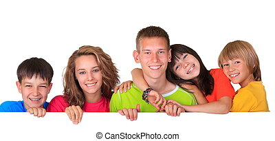 Happy children - Family of five happy brothers and sisters...