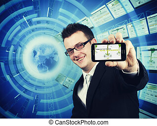 Non Stop phone support - Young businessman offering phone...