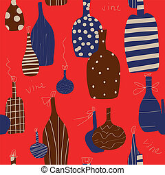 Wine bottle seamless funny design in red colors