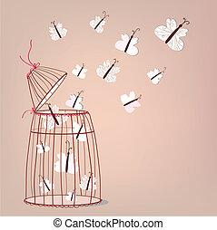 liberdade, Ilustração, -, gaiola, borboletas,...