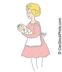 Mother and baby retro style illustration