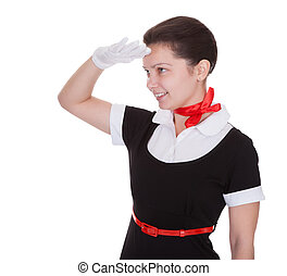 Air hostess saluting as she welcomes you - Air hostess or...