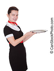 Young waitress with a service tray - Attractive young...