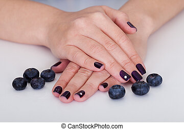 Blueberries and beautiful nails - Fresh blueberries...