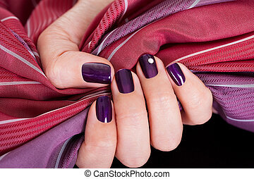 Beautiful purple female nails - Woman with beautiful purple...