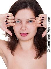 Woman with beautiful purple nails