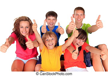Teens and kids with thumbs up - Children and teenagers in a...