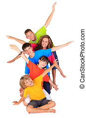 Children with outstretched arms - Group of happy children...