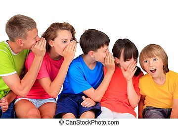 Happy children whispering - Group of five different aged...