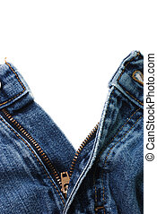 Closeup of zipper in blue jeans isolated on white...