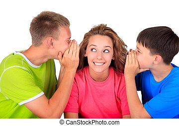 Sister with brothers having fun