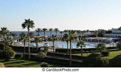 The swimming pool and beach at luxury hotel, Sharm el...