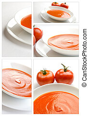 Collage of tomato soup - Tomato soup in a white plate,...
