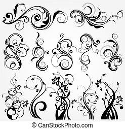 floral, diseño, elementos