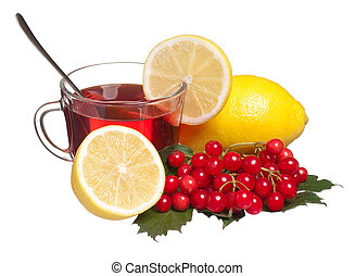 Anti-virus remedy - Glass cup with tea and lemon isolated on...