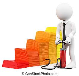 3D, blanco, empresa / negocio, gente, inflación,...