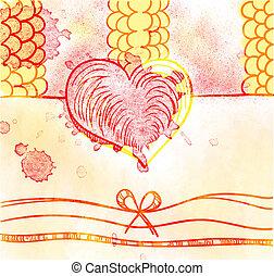 Valentine day card in grunge style