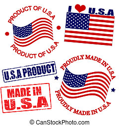 Product of USA stamps
