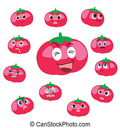 tomato cartoon with expressions