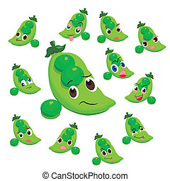 pea cartoon with many expressions isolated on white...