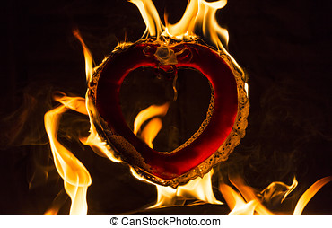 Burning Love Flaming Heart - Burning love flaming fire heart...
