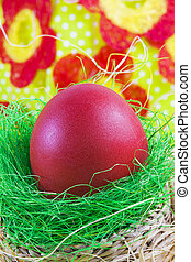 Art Easter greeting card with Easter egg