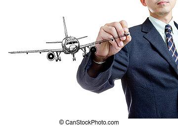 businessman writing air plane