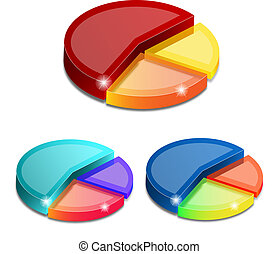 3d pie graphs isolated on white background, vector...