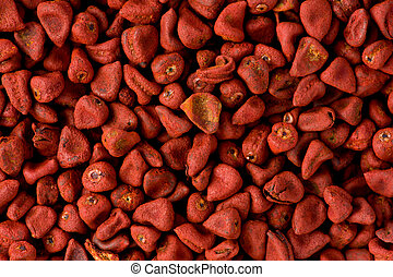 rouges, annatto, Graines, (Bixa, orellana)