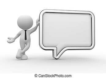 Businessman - 3d people - man, person with a blank speech...