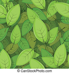 Seamless Green Spring Leaves Background - Illustration of a...