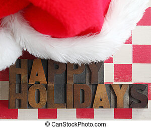 Santa Claus hat with happy holidays