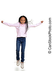 African child jumping in the air on white background